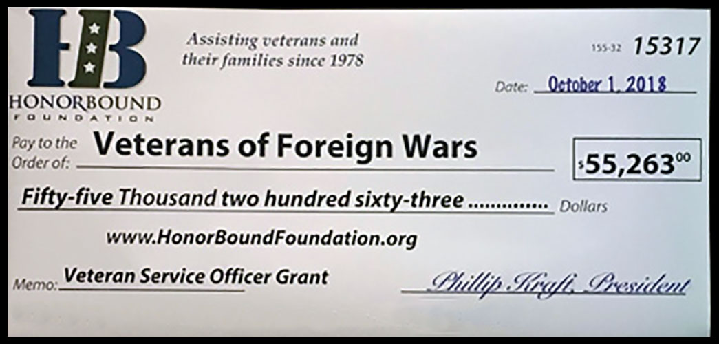 HonorBound Foundation - Donation Check